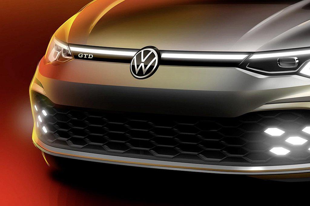 福斯汽車日前預告新Golf GTD柴油性能掀背車,將於瑞士日內瓦車展首發。 圖/...