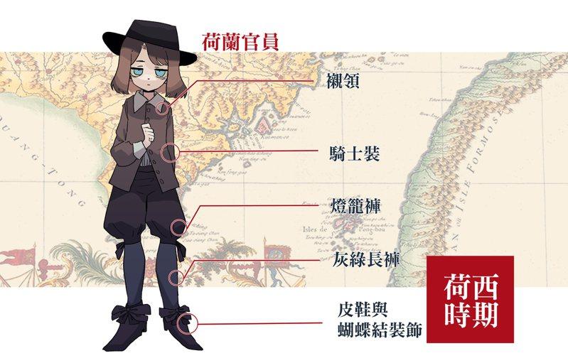 荷西時期福爾摩沙長官。(圖/臺灣服飾誌 提供,插圖繪師:Kari Chen)