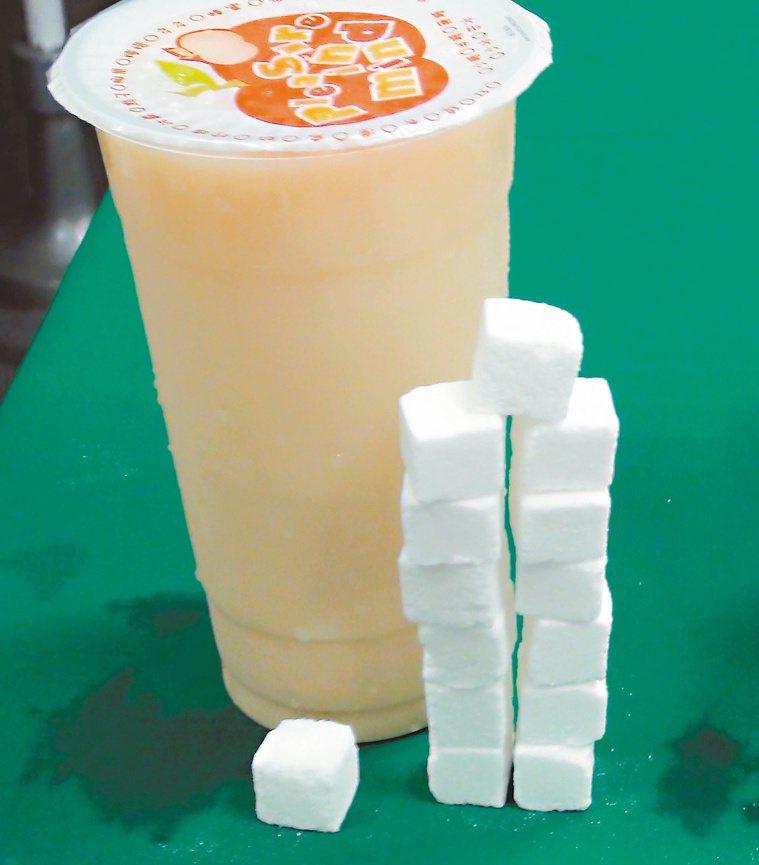 一杯含糖飲料約含20顆方糖,紓壓不成反肥胖,根據研究,也容易造成性早熟。本報資料...
