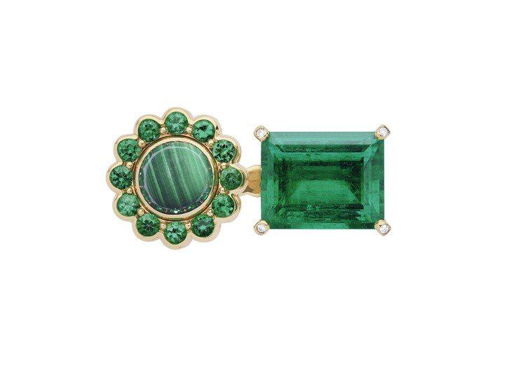 DIOR ET MOI 祖母綠戒指,18K黃金與白金、鑽石、祖母綠、孔雀石、綠色...