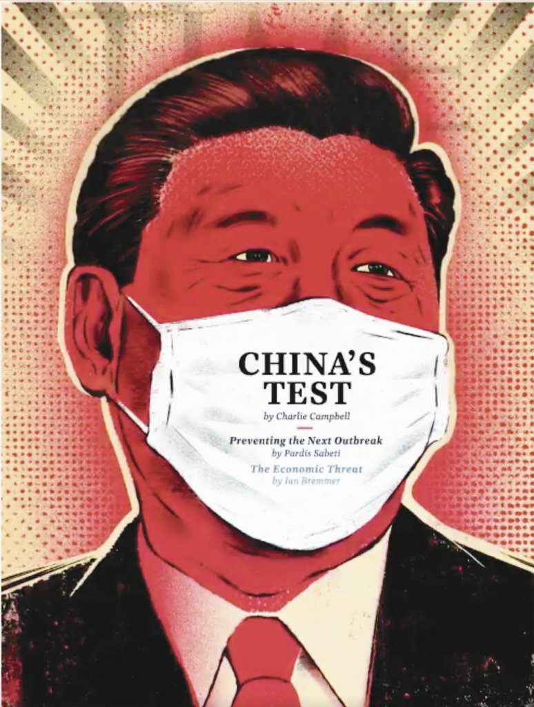 時代雜誌2月17日的最新封面,是中國大陸國家主席習近平戴上白口罩的畫像。 圖/T...