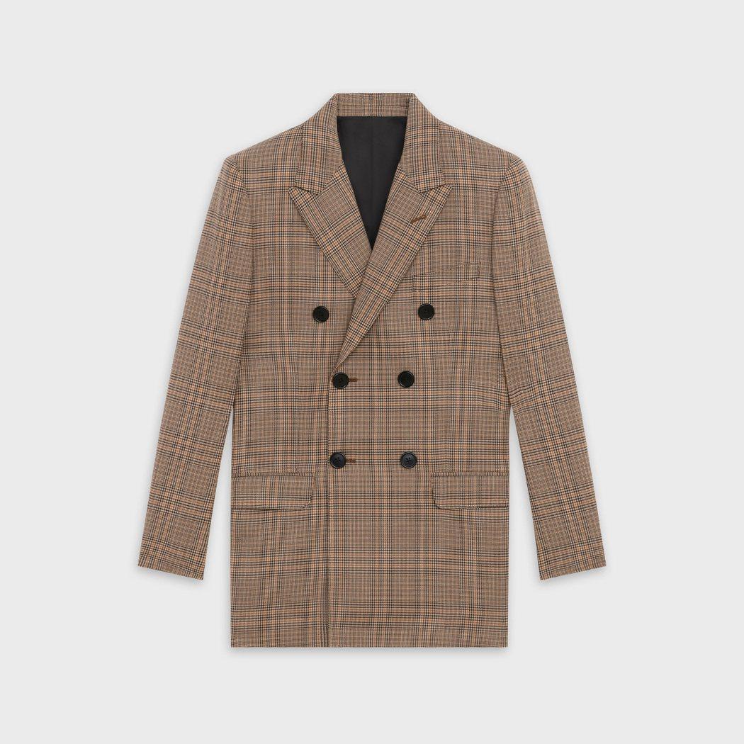CELINE威爾斯格紋雙排釦外套,售價95,000元。 圖/CELINE BY ...