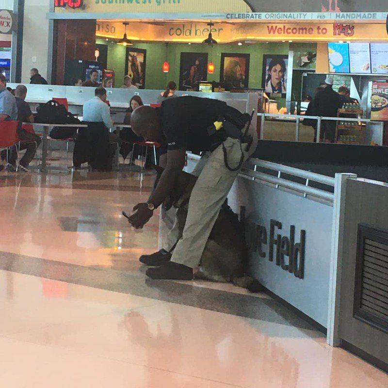 美國警員安德烈在機場和警犬自拍意外爆紅。圖/Facebook