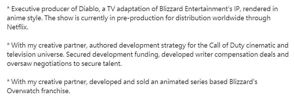 Nick van Dyk的個人介紹指出《暗黑破壞神》與《鬥陣特攻》都將推出動畫。