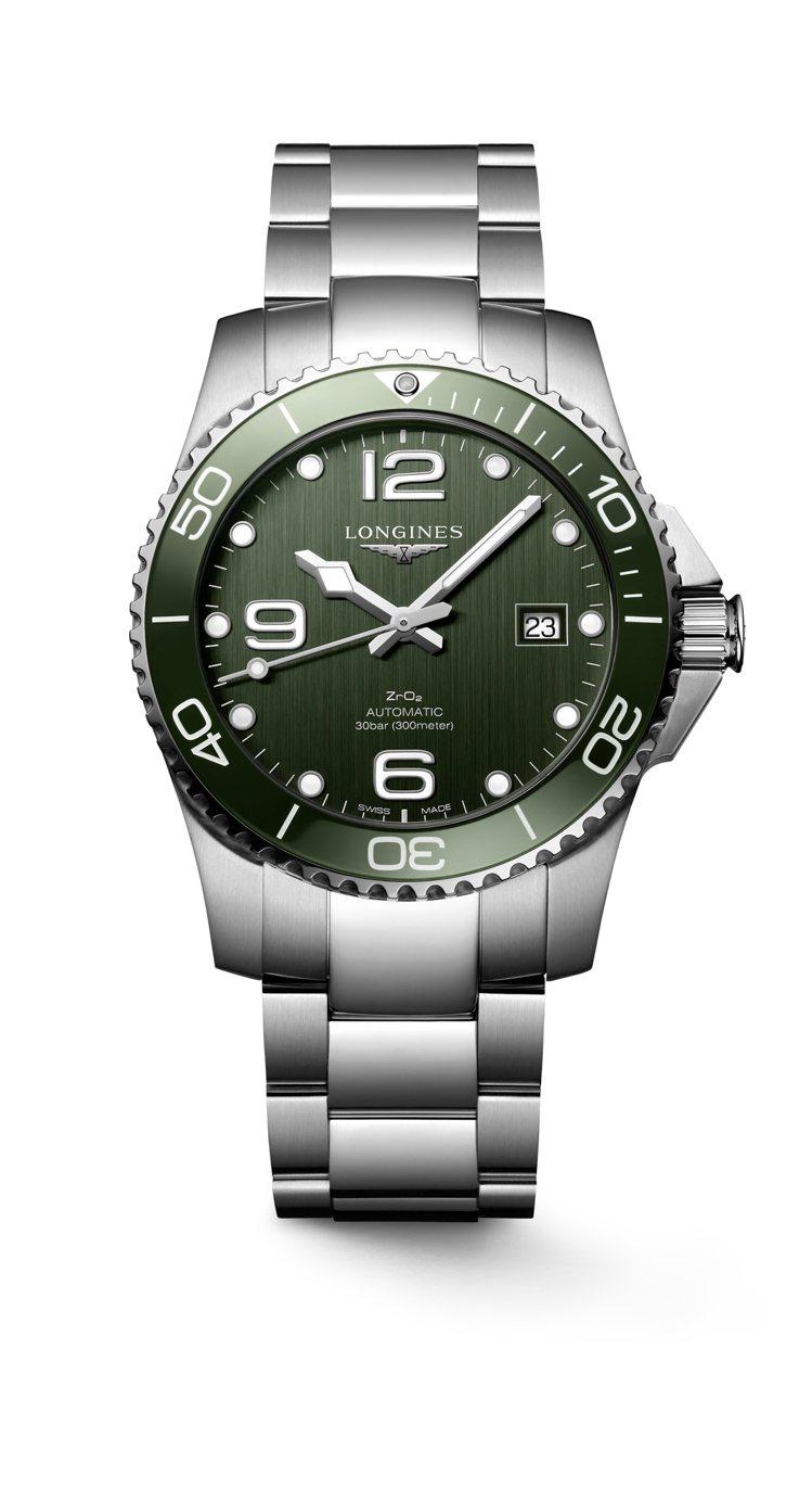浪琴表HydroConquest深海征服者系列卡其綠潛水腕表,不鏽鋼表殼、表鍊搭...