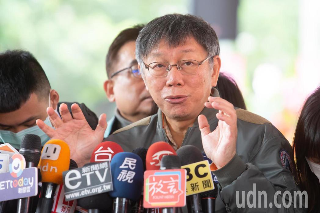 台北市長柯文哲受訪時表示台灣社區感染遲早會發生。記者季相儒/攝影