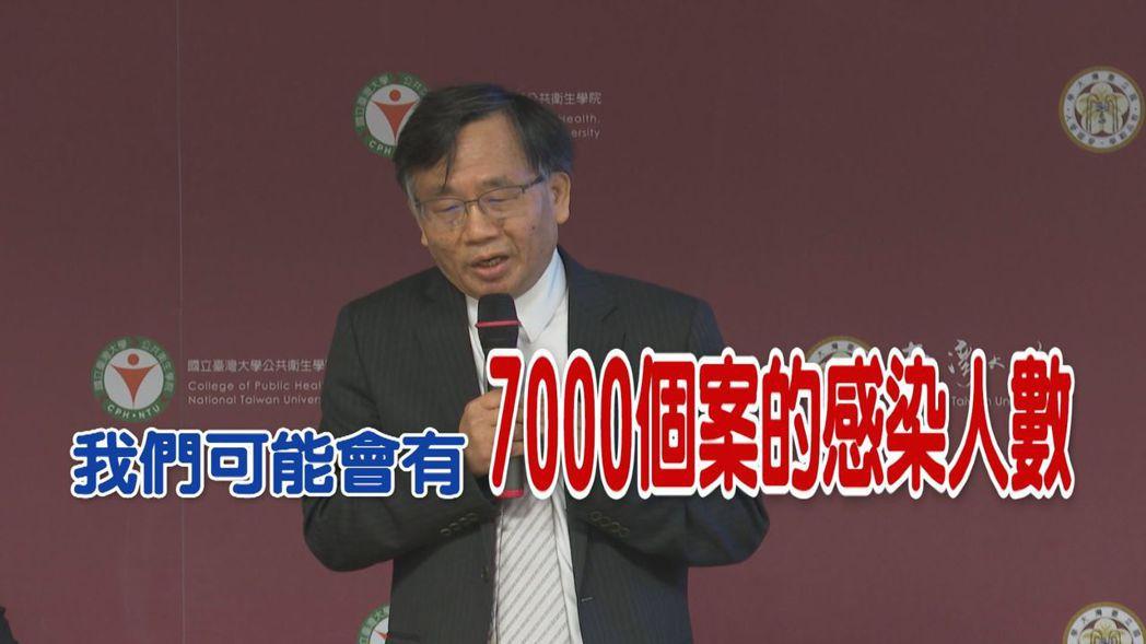 台大公衛學院副院長陳秀熙示警,政府防疫措施若未升級,預估台灣的感染人數恐達700...