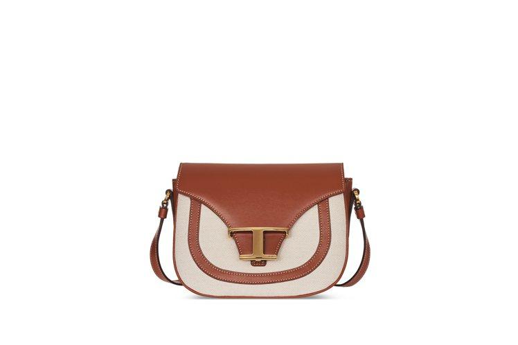 TOD'S Timeless Bag異材質拼接焦糖白撞色包,62,700元。圖/...
