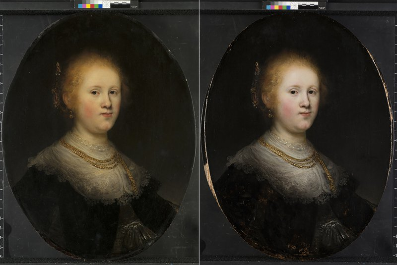 超過400年歷史的名畫「年輕女子肖像」,原被懷疑並非出自林布蘭本人之手,而是由助手操刀;但是現代科技經過重重檢驗後證實,該畫作確實出自林布蘭。圖為該畫修復前(左)和修復後的對比。(美聯社)