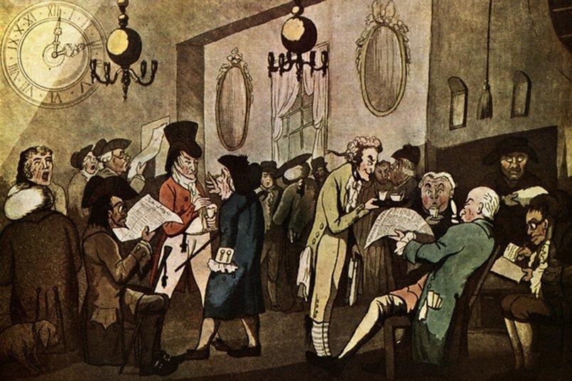 17至18世紀,倫敦的「洛伊茲咖啡廳」是海上貿易的情報處及交易所。 圖/維基共享