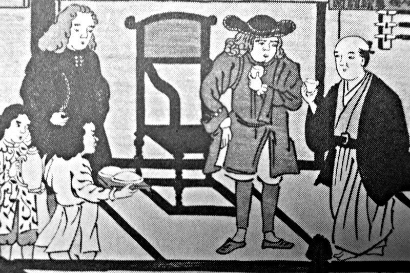 荷蘭人跟江戶人一起品嚐咖啡。翻拍自上島咖啡本社編《咖啡讀本》,東洋經濟新報社。 圖/作者提供