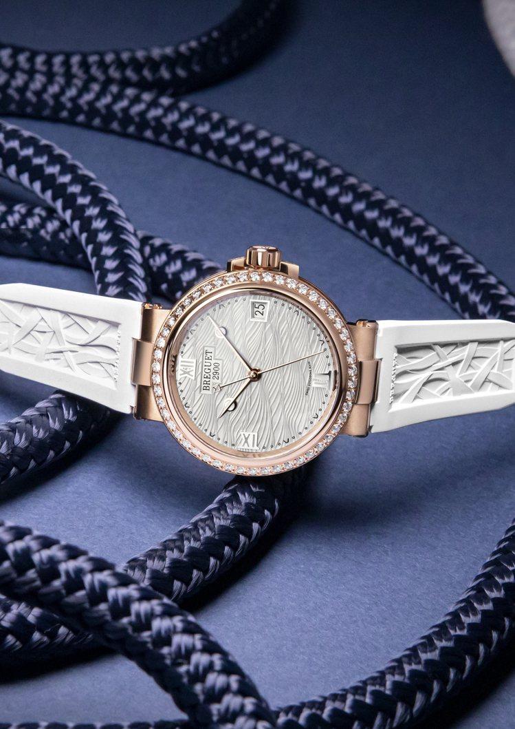 Breguet,Marine Lady 9518腕表。玫瑰金,白色珍珠母貝表面並...