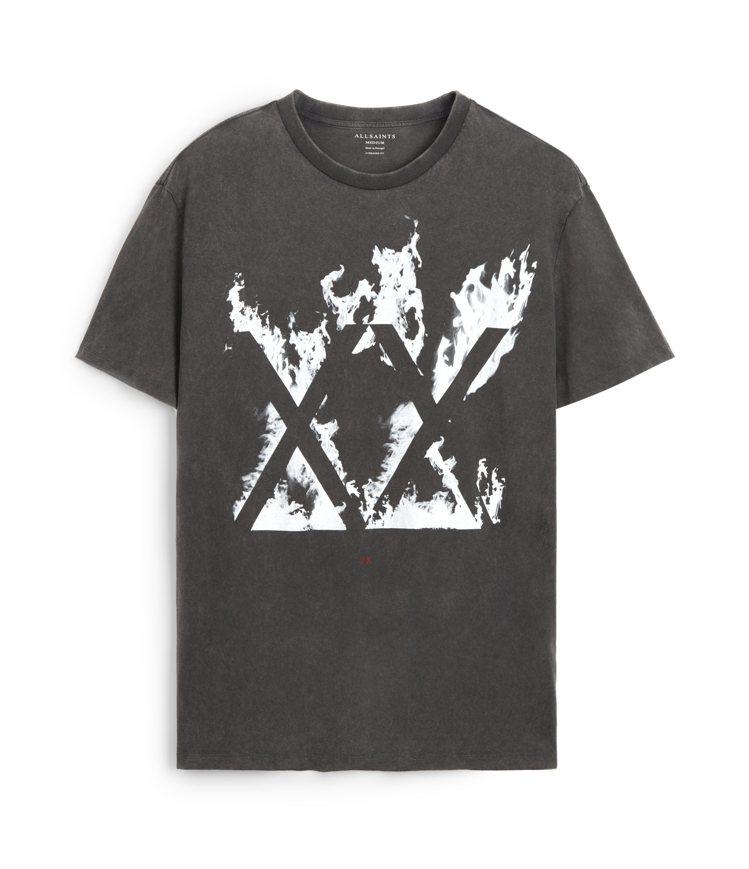 AllSaints Burn復古黑XX印花上衣1,800元。圖/AllSaint...