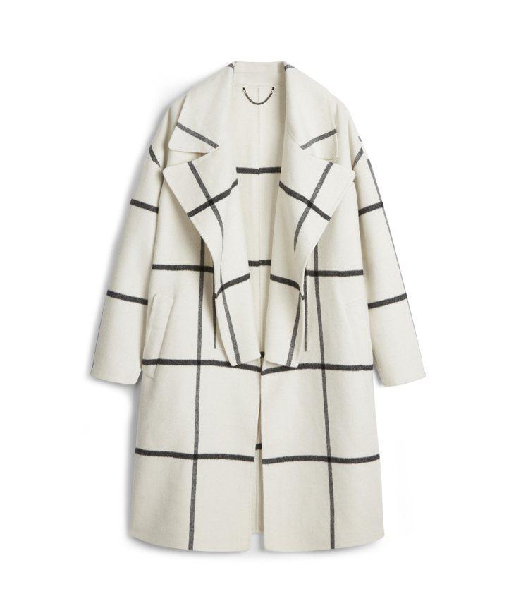 AllSaints Ryder米白色格紋大衣18,500元。圖/AllSaint...