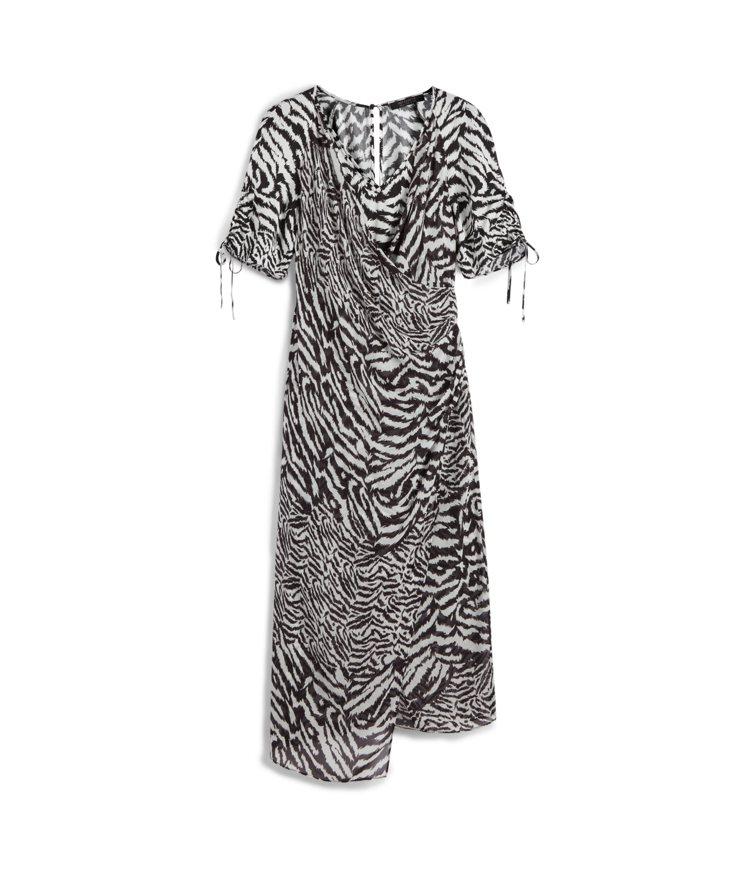 AllSaints Carla斑馬紋抽繩洋裝11,800元。圖/AllSaint...