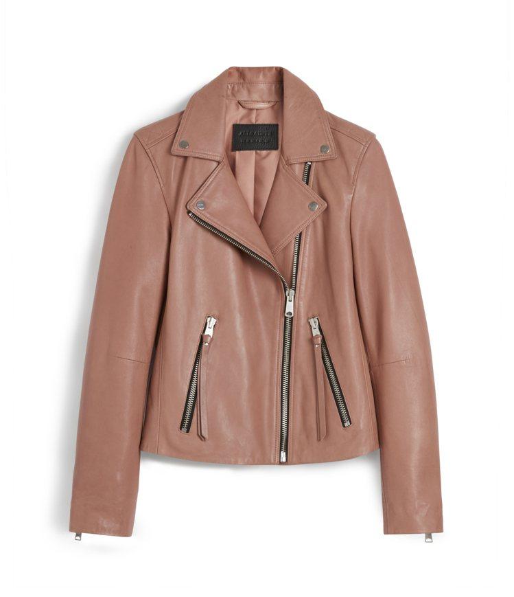 AllSaints Dalby玫瑰粉騎士皮夾克16,800元。圖/AllSain...