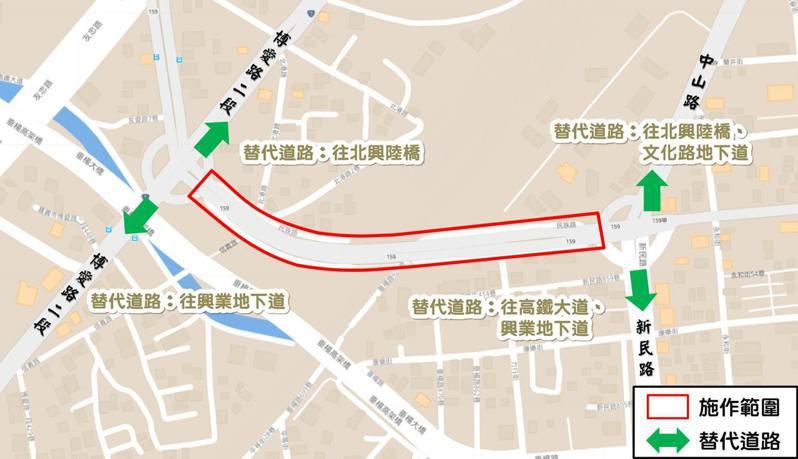 「嘉雄陸橋」下月2丶3日車道路面柏油刨鋪,夜晚10點後全面封閉。記者卜敏正/翻攝