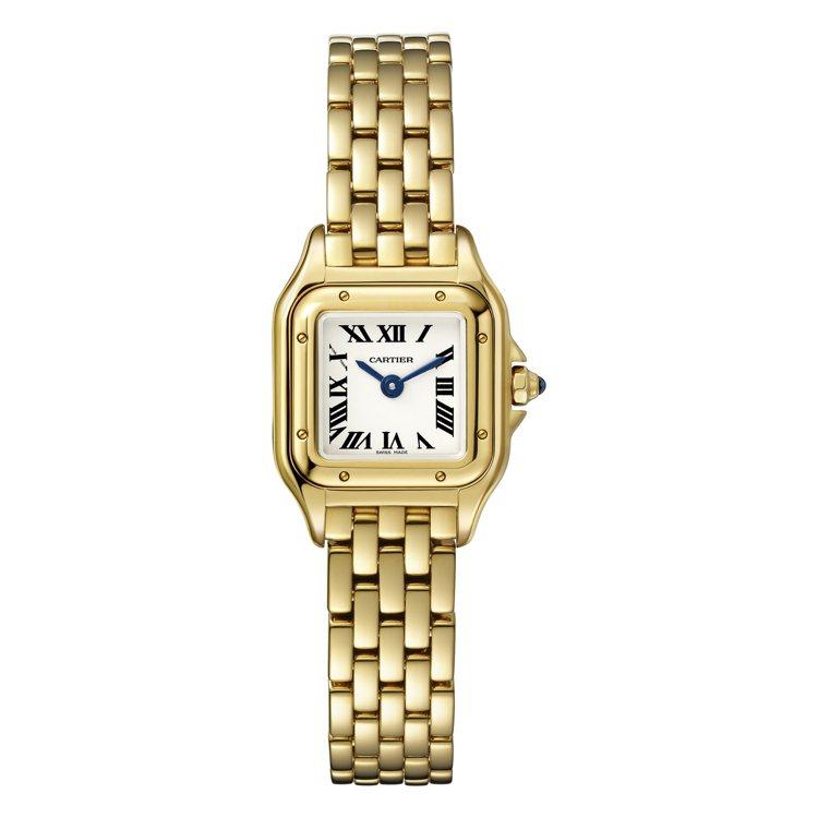 PANTHÈRE DE CARTIER黃K金迷你腕表。卡蒂雅的美洲豹腕表備有白...