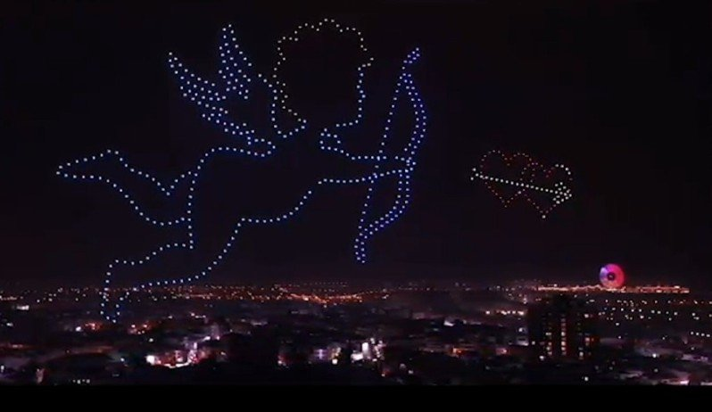 台灣燈會今晚500台無人機表演情人節圖案,愛神丘比特射箭。圖/台中市觀旅局提供