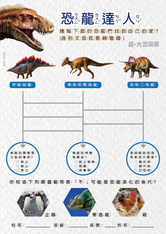 看「超.大恐龍展」前可先至官方粉絲團下載「恐龍學習單」,在展場慢慢挖掘恐龍充滿謎團的生態多樣性。 圖/聯合數位文創提供