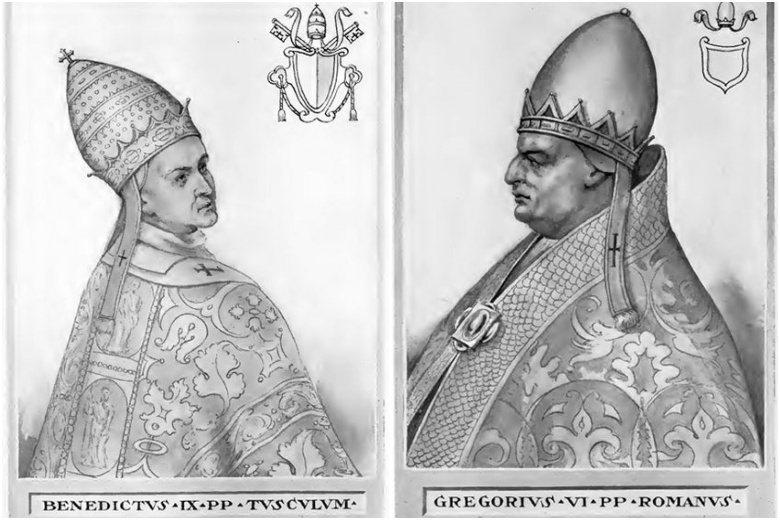 本篤九世是史上最年輕教宗,卻也被後世稱為最荒唐教宗。左:本篤九世;右:額我略六世。 圖/維基共享