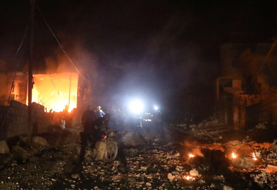 易德利卜的平民區2月18日遭到空襲。 圖/法新社