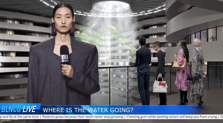 時尚品牌BALENCIAGA推出趣味逛告影片,所有模特兒變身新聞播報員和新聞事件...