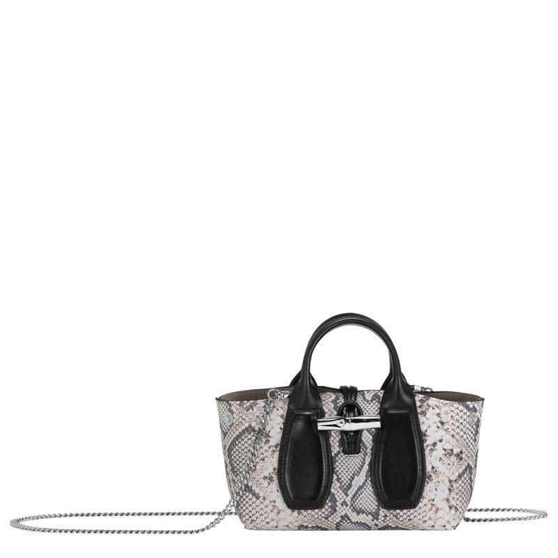 LONGCHAMP Roseau Python小型蟒蛇紋黑白手提包,售價21,000元。圖/LONGCHAMP提供
