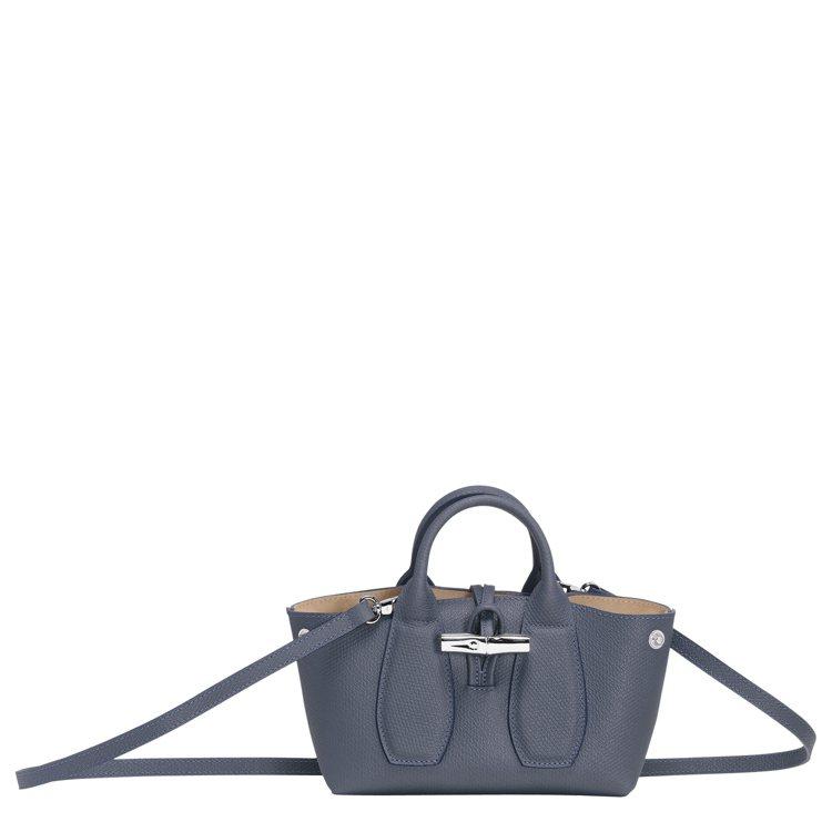 LONGCHAMP Roseau飛行員藍色手提包,售價13,600元。圖/LON...