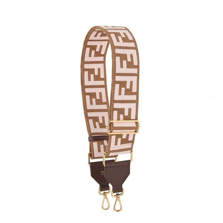 FF Logo粉紅色Strap You肩帶,售價30,500元。圖/FENDI提...