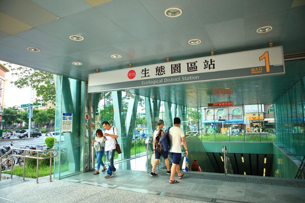 捷運R15一號出口,走路300公尺輕鬆到家。圖片提供/都市建設