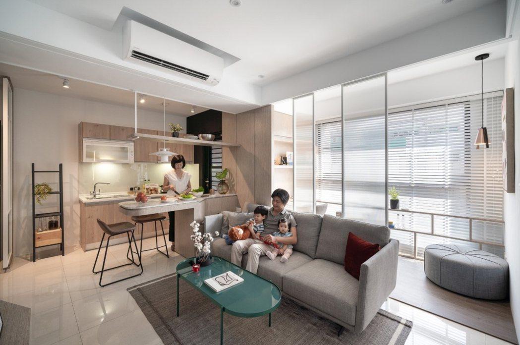 格局方正、戶戶採光邊間,客廳可以+1書房機能運用。圖片提供/都市建設