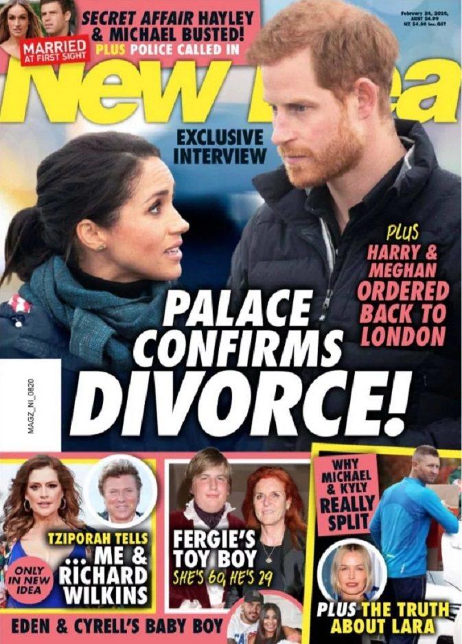 哈利與梅根被雜誌封面打上大大的「離婚」標題。圖/摘自New Idea