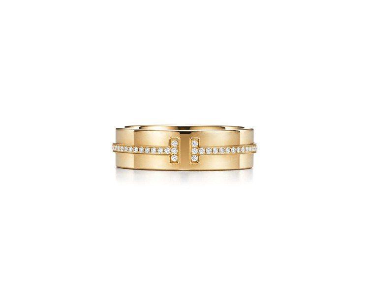 Tiffany T Two 18K金鑲鑽戒指,11萬3,000元。圖/Tiffa...