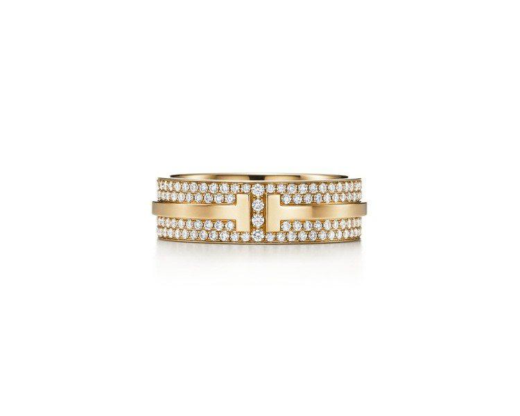 Tiffany T Two 18K金鋪鑲鑽石戒指,26萬4,000元。圖/Tif...
