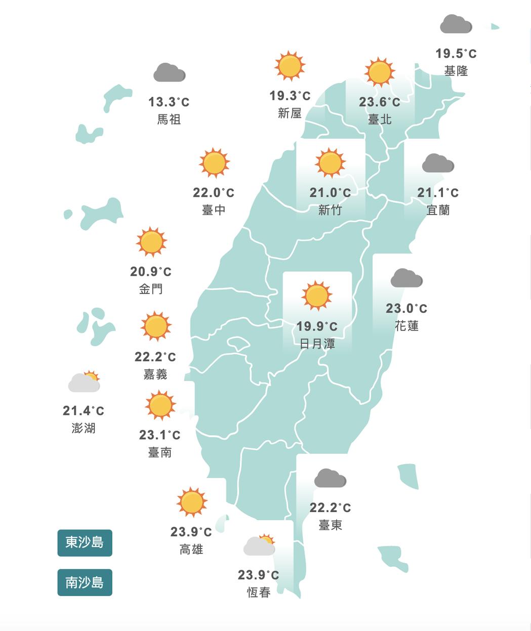 各地溫度持續回升。圖/取自氣象局網站