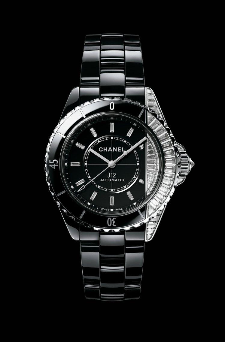 J12 Paradoxe鑽石腕表,黑色抗磨精密陶瓷及18K白金鑲嵌鑽石、Cali...