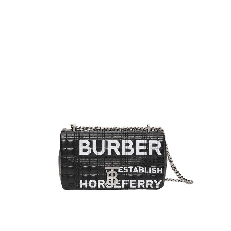 BURBERRY黑色小型Horseferry印花絎縫格紋Lola包,售價55,0...