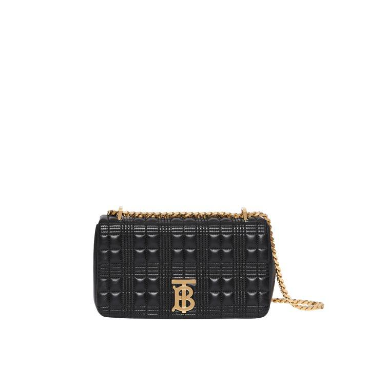 BURBERRY黑色羔羊皮飾金釦Lola包,售價55,000元。圖/BURBER...