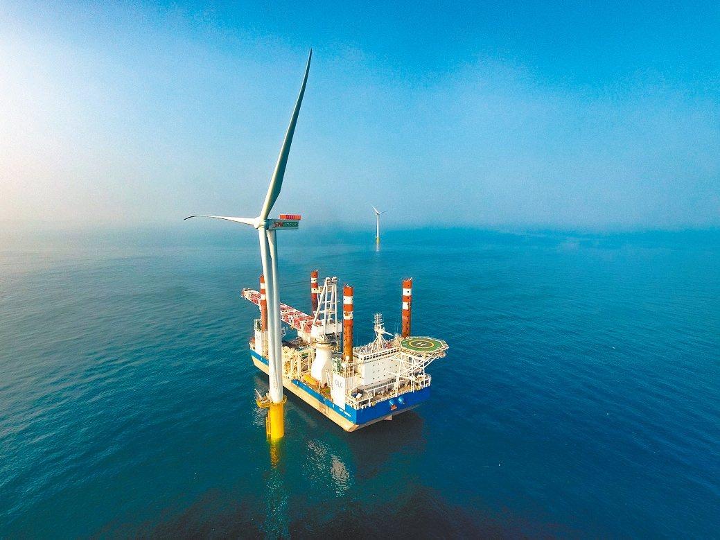苗栗外海的離岸示範機組。 上緯新能源/提供