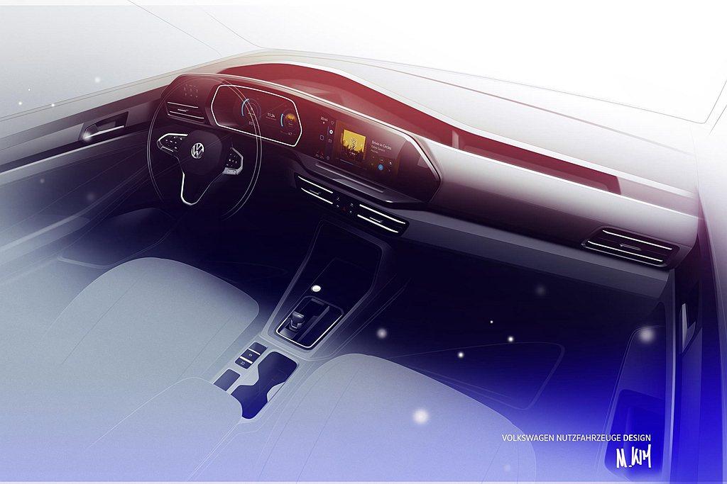 大改款福斯商旅Caddy內裝可選全數位儀表之外,中控台上的多功能訊息資訊螢幕則提...