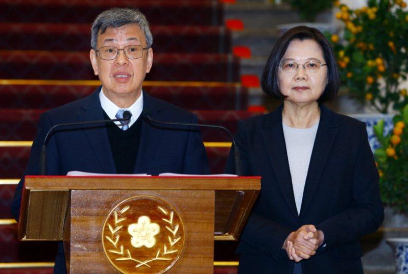 蔡總統(右)與曾擔任過衛生署長的副總統陳建仁(左)。 圖╱聯合報系資料照片
