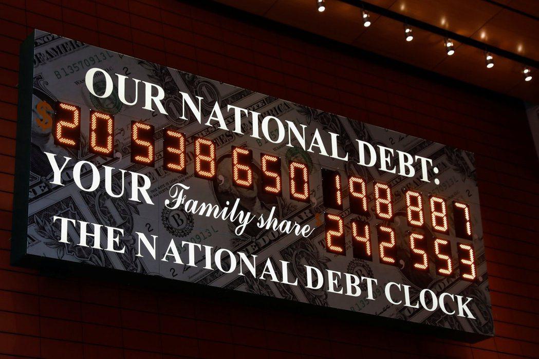 分析師預估,今年全球主權債總規模將達53兆美元新高。圖為2017年美國國債鐘顯示...