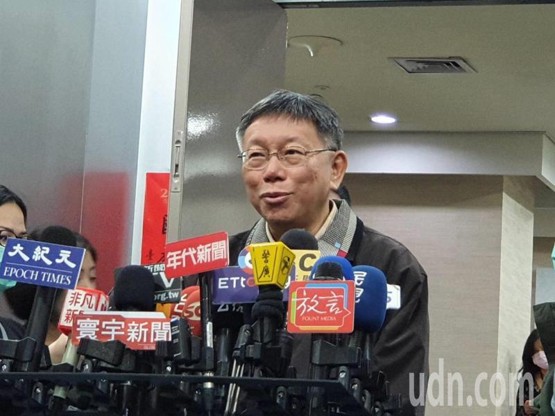 柯文哲上午參加市府交通會報前受訪。記者楊正海/攝影