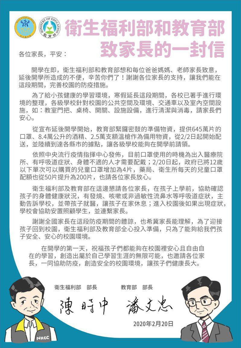 各級學校開學在即,衛服部部長陳時中和教育部部長潘文忠,今天聯手發表「衛生福利部和教育部致家長的一封信」。圖/教育部提供