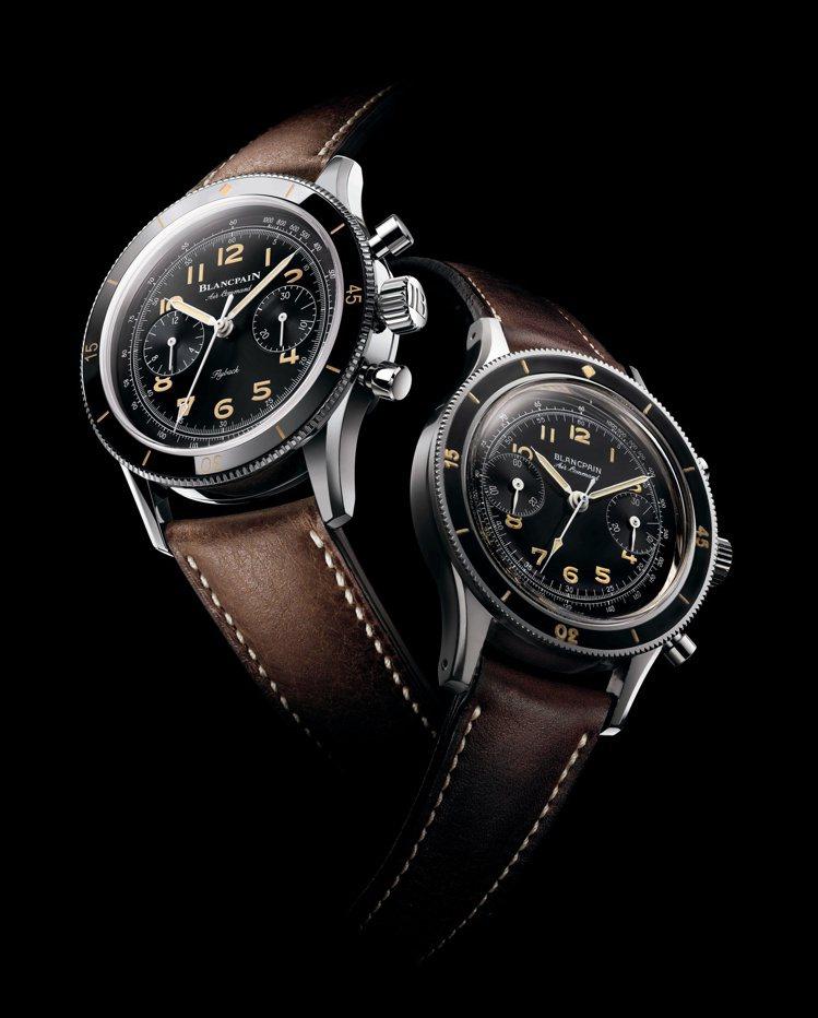 Blancpain,Air Command飛行腕表,左為復刻新款、右邊則為古董款...