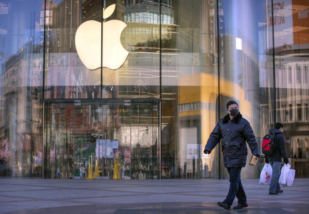 蘋果北京5家分店中其中一家門市的外觀。美聯社