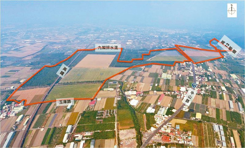 高雄市完成審議的國土計畫, 將阿蓮九鬮金屬扣件產業園區(紅線區)回歸農業發展用地。 圖/高雄市政府都發局提供