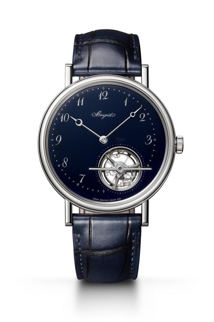 Breguet,經典系列藍色大明火琺瑯陀飛輪腕表,鉑金,41毫米,時間顯示、大明...