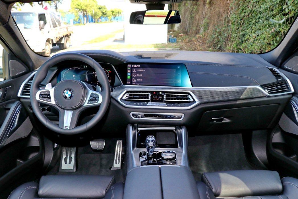 X6全新世代家族設計的六角形中控儀錶檯簡潔俐落,延續BMW直覺且人性化的操作、低...
